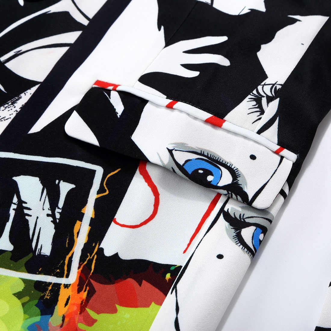PYJTRL marca Tide hombres de moda de Impresión 2 piezas conjunto de trajes casuales más el tamaño de la cadera caliente hombre delgado Fit traje hombres cantante traje de boda
