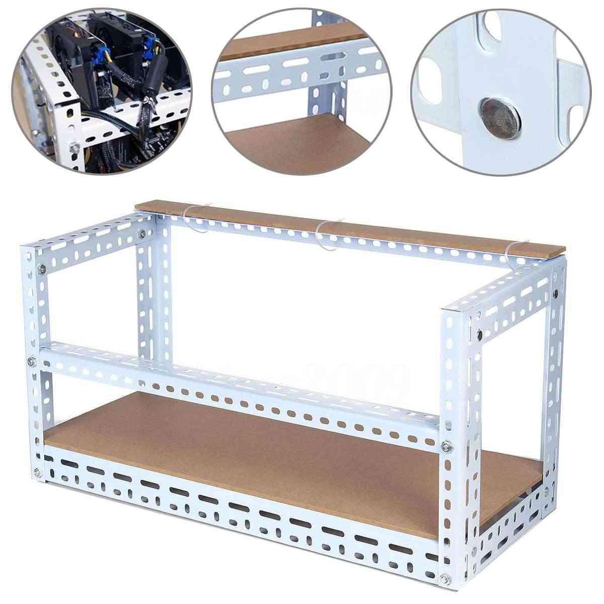 Nieuwe DIY Staal Stapelbaar Mijnwerker Frame Case 6GPU Mijnbouw Rig Frame 70 cm * 30 cm * 45 cm voor bitcoin BTC Mining Crypto Machine Wit