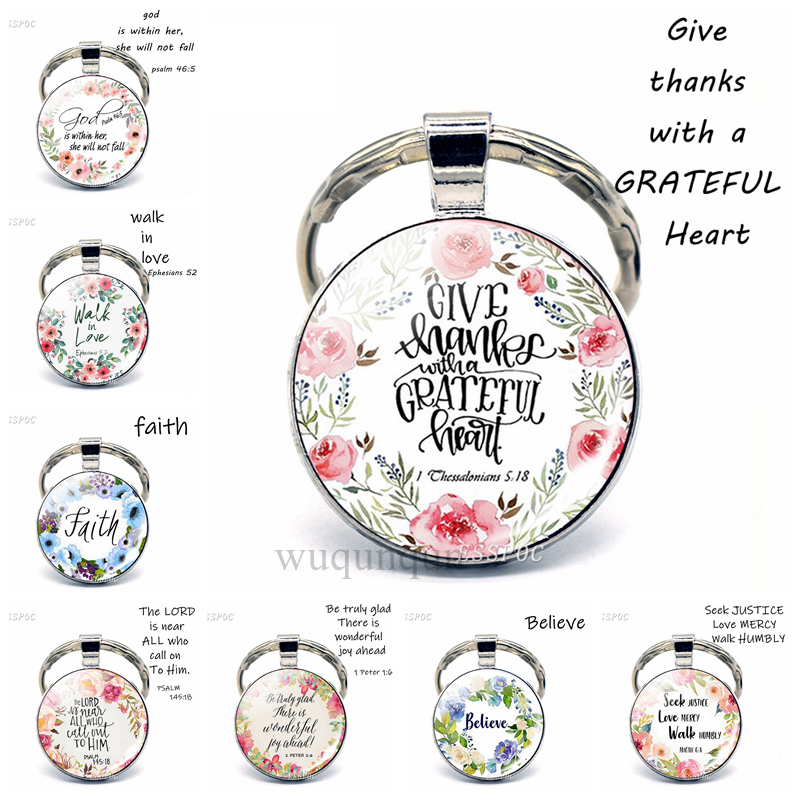 Give Thanks With A Grateful Heart Quote Keychain Glass Jewelry Christian Bible Verse Pendant Women Key Chain Thanksgiving Gifts