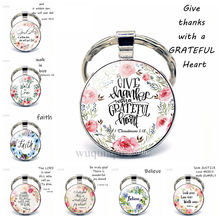 Give Thanks with A Grateful Heart Quote Keychain Glass Jewelry Christian Bible Verse Pendant Women Key Chain Thanksgiving Gifts god is my refuge and strength a very present help in trouble key chain glass cabochon god jewelry bible verse key rings
