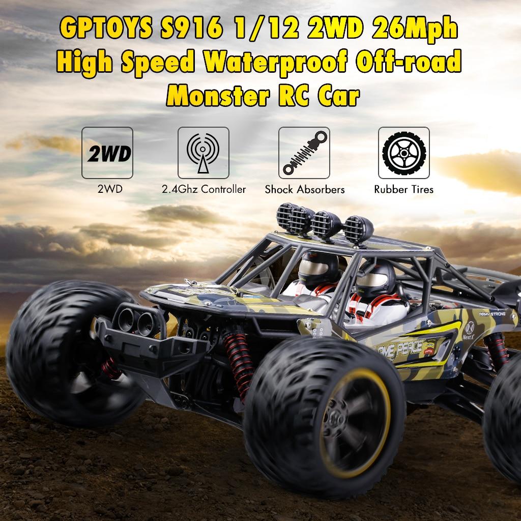Chaud GPTOYS S916 RC voitures télécommandé camion 1/12 échelle 2.4 GHz 2WD étanche tout-terrain monstre voiture meilleurs cadeaux pour enfants adultes - 2