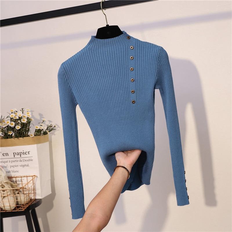 Banulin Fashion Button Turtleneck Sweater Women Autumn Winter Knitted Pullover Women Slim Soft Jumper Sweater Female Knit Tops