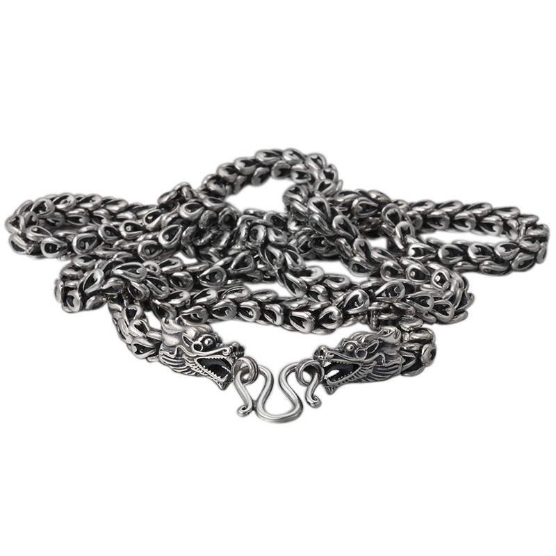 925 Sterling Silver Vintage Thai Silver Retro Men & Women Chain Necklace Fine Jewelry Double Chinese Dargon Scale Chain CH041558