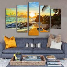 HD Printed Poster Modular Canvas Pictures 5 Pieces Reef Stone Beach Coconut Trees Sunrise Seascape Paintings Home Decor Wall Art