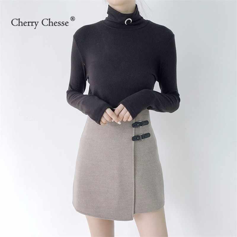 Cherry Chesse Офисные женские туфли Для женщин юбка империи Кнопка Асимметричная