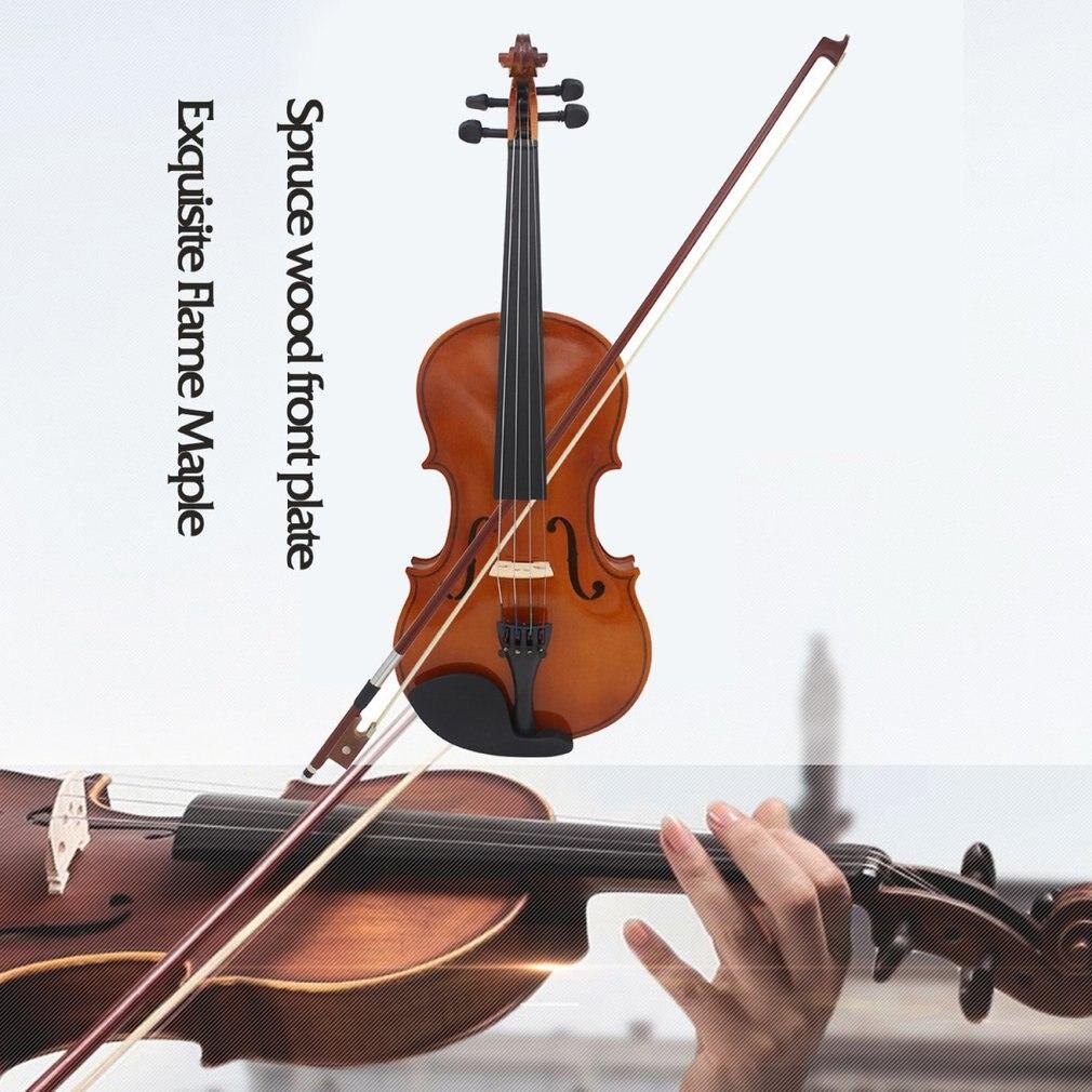 Full Size 4/4 Violino Naturale Acustica In Legno Massello Violino Violino per Principianti con il Caso Colofonia
