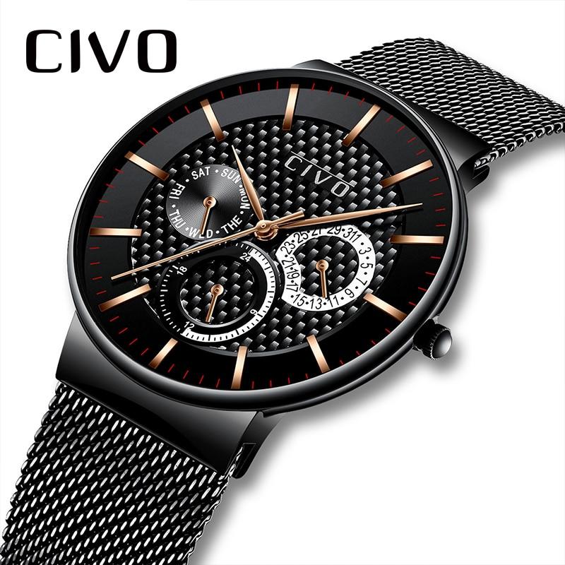 CIVO 2019 nouvelle marque de luxe montres hommes mode Sport militaire montre à Quartz hommes plein acier étanche horloge homme Relogio Masculino