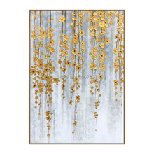 Best Handmade Modern Abstract Golden Palette Knife flower Oil Painting on Canvas Living Room Decorative Hand Painted Wall Art