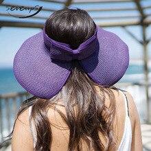 Womens Summer Foldable Straw Sun Hat Visor w/Cute Bowtie Female Casual Panama Ladies