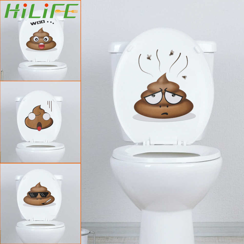 HILIFE Wall Sticker Vinyl Decals Toilet Stickers Cute Poo Home Decoration Poster
