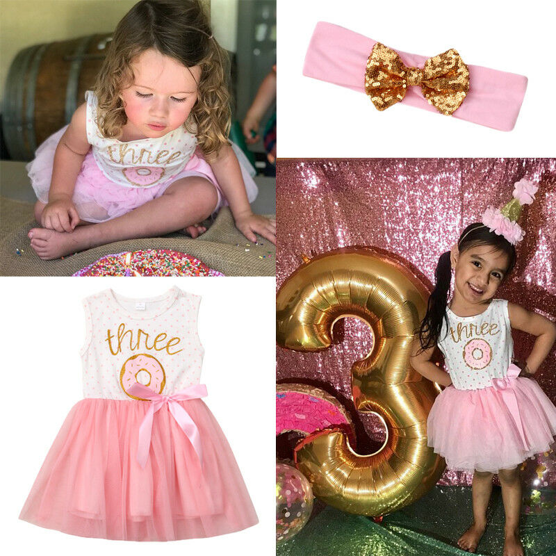 2019 Three Years Old Birthday Baby Girls Donut Dress Rompers Tutu Dresses Headband Outfit Clothes Set Sleeveless Long Sleeve