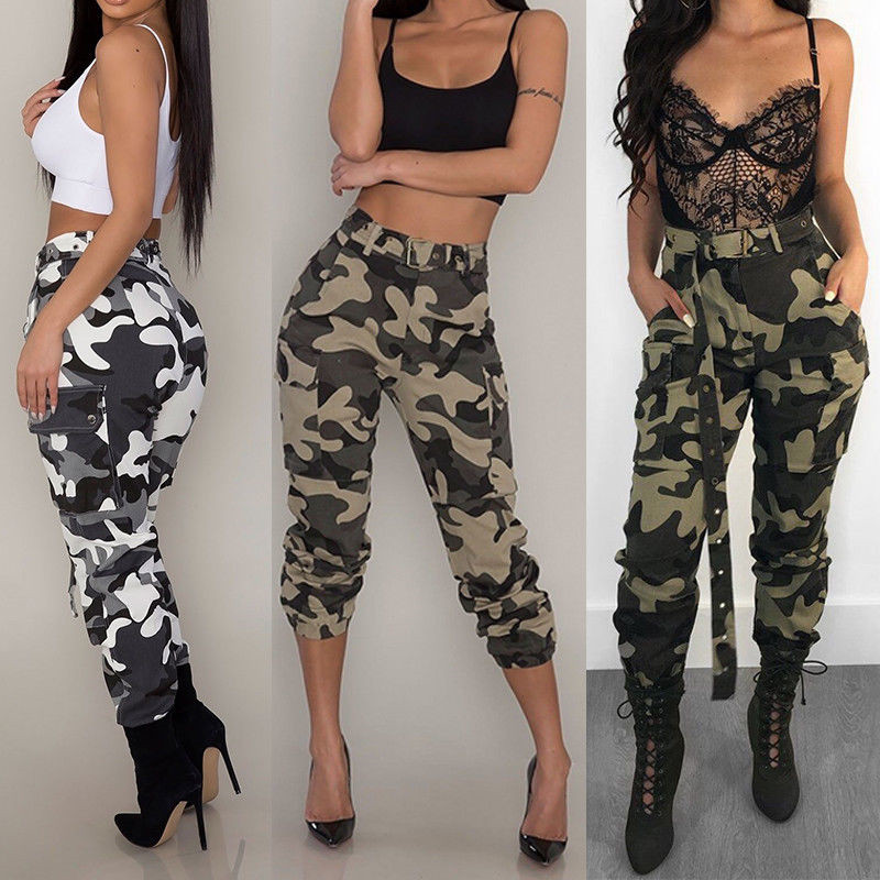 2020 New arrival Women Camo Cargo Trousers Casual Lady Long Pants Camouflage Clothing High Waist Pasnts Pockets without Belt
