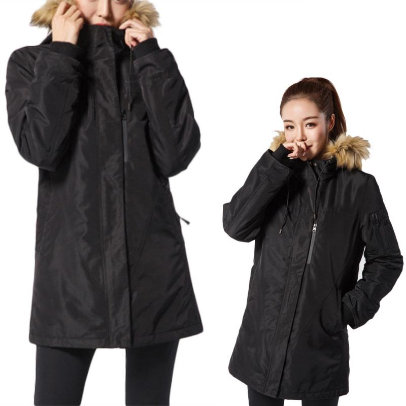 Aggressiv Unisex Winter Warme Heizung Jacken Smart Thermostat Reine Farbe Mit Kapuze Beheizte Kleidung Ski Wandern Mäntel Einstellbare Temperatur