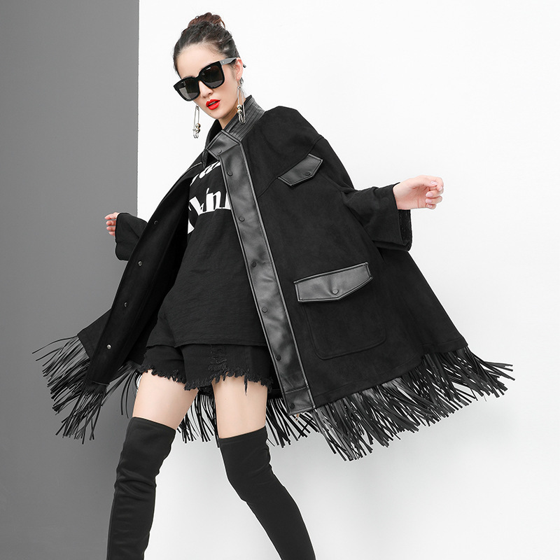 LANMREM 2018 New Fashion Stand Collar Patchwork Tassel PU Leather Clork Type Jacket Female s Black