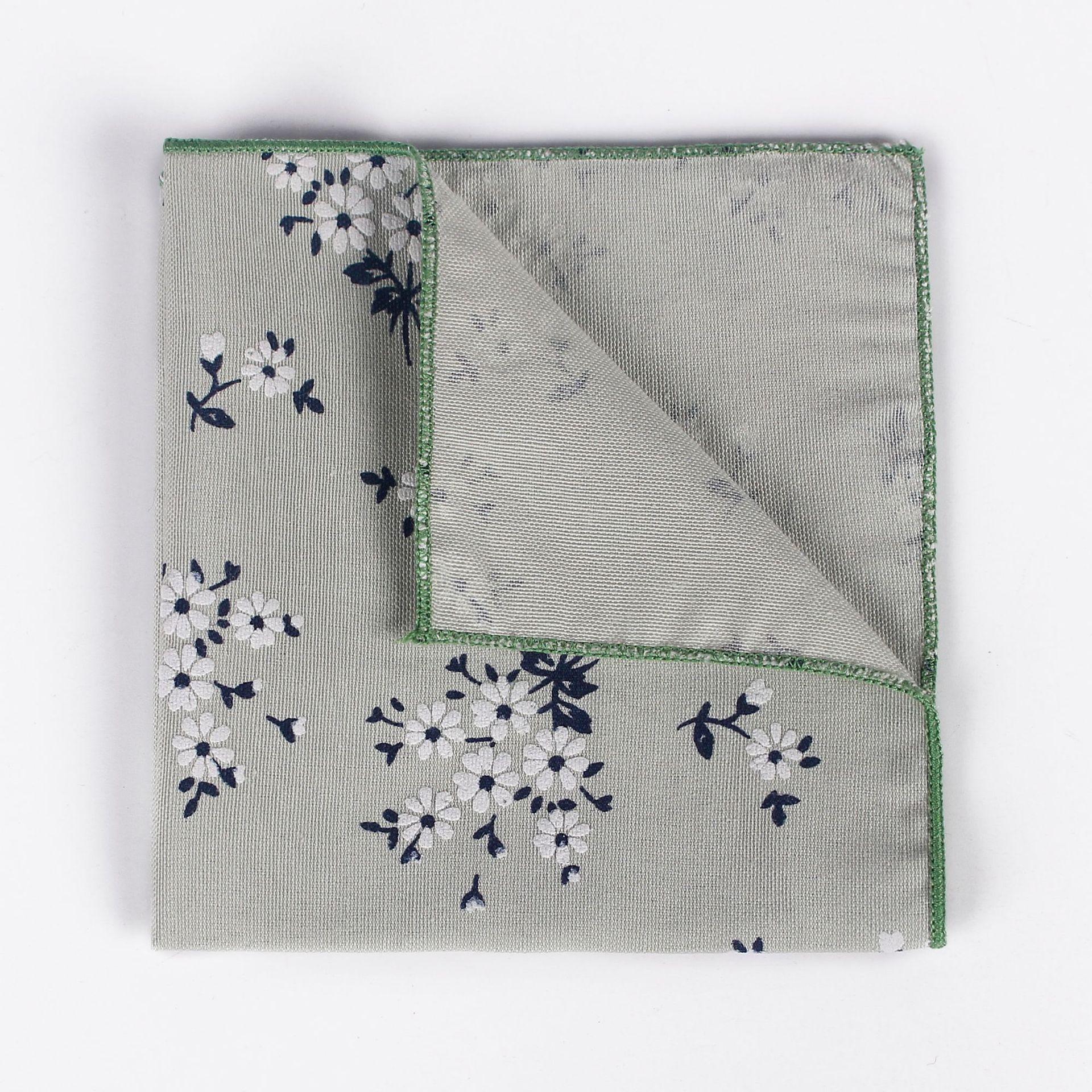 Mantieqingway Pocket Towel Men's Fresh Floral Pastoral Style Printed Cotton Square Suit Suit Pocket Bag Accessories