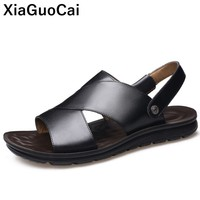 2019 Summer Men Beach Shoes Genuine Leather Male Sandals Slippers Two Uses Non slip Leisure Flat Slides High Quality Concise