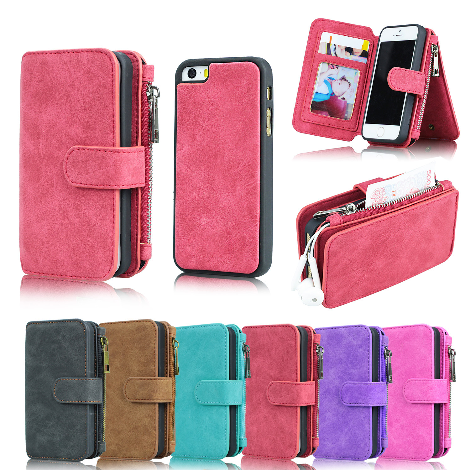 new arrival cf35f b9cd2 US $14.99 |Aliexpress.com : Buy Multifunctional Zipper Wallet Case for  iPhone 5 se case MEGSHI 8 credit card slot kickstand removable Mobile Phone  ...