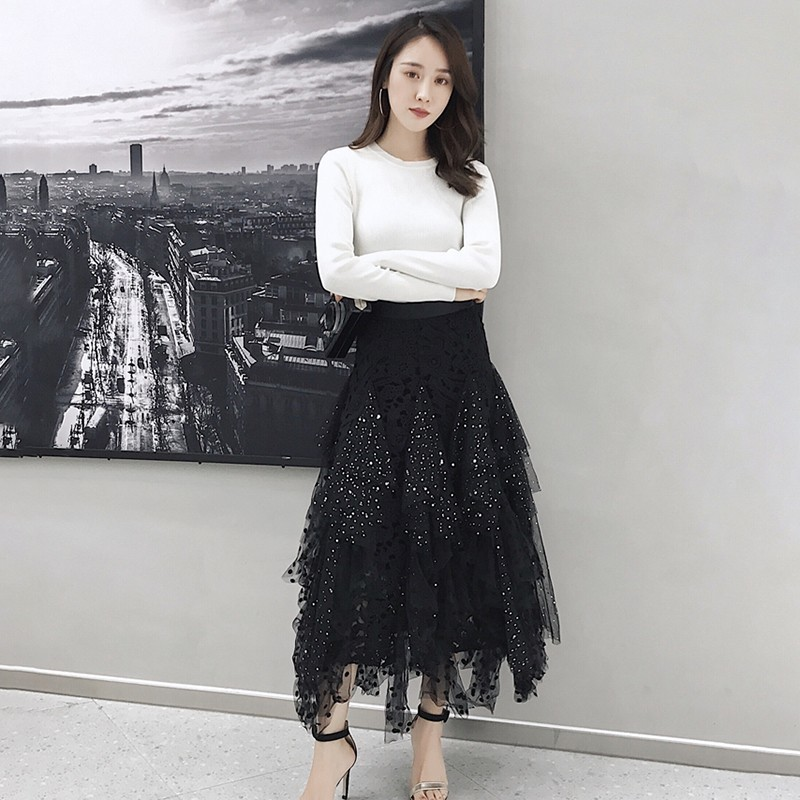 TWOTWINSTYLE Aushöhlen Polka Dot Frauen Rock Hohe Taille Mesh Unregelmäßige Mitte Röcke Weibliche Casual Koreanische 2019 Frühling Mode Neue
