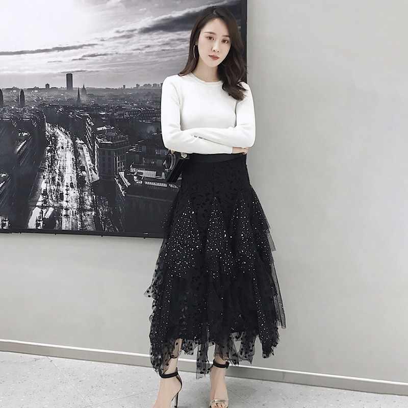 TWOTWINSTYLE Aushöhlen Polka Dot Frauen Rock Hohe Taille Mesh Unregelmäßige Mitte Röcke Weibliche Casual Koreanische 2020 Frühling Mode Neue