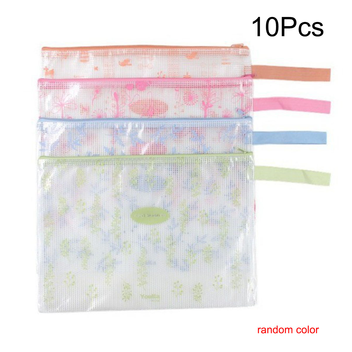 10 Pcs A4 Size Plastic Zip Document Filing Folder Bag Storage Pouch