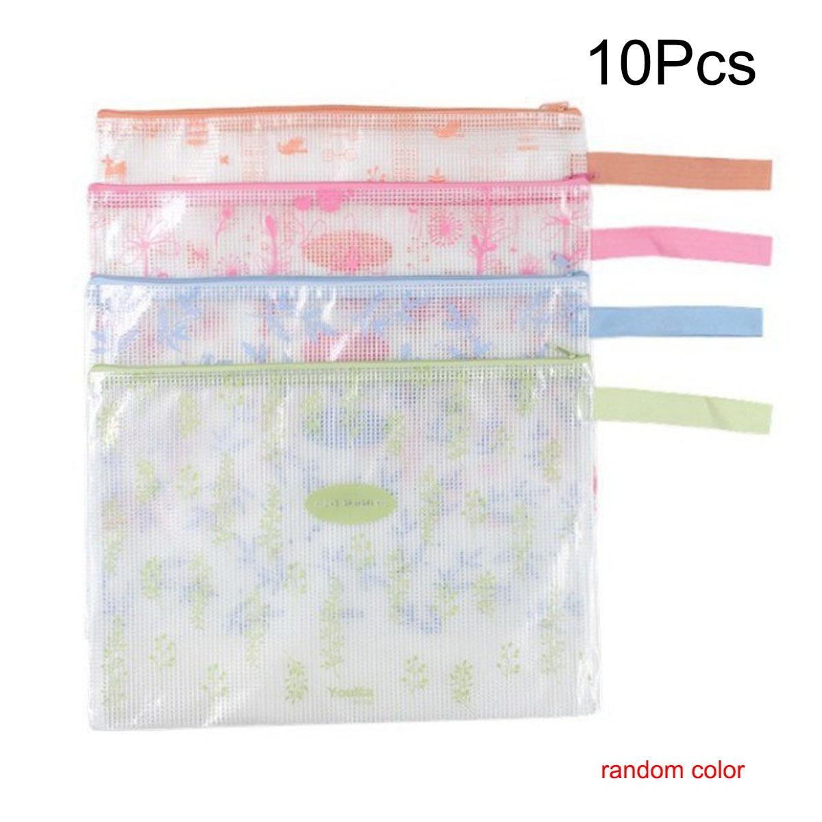 10 Pcs A4 Size Plastic Zip Document Filing Folder Bag Storage Pouch