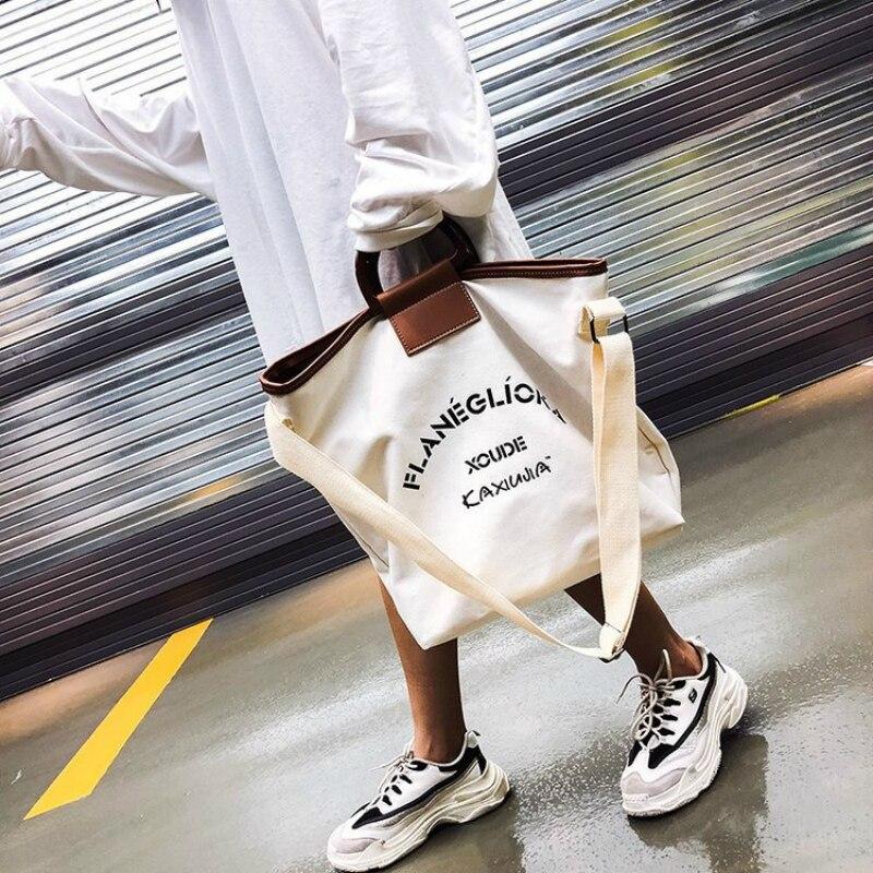 Korean Fashion Women's Women Ladies Big Bag Shopping Bag Art Canvas Single Piece Handbag Student Wild Large Capacity Beach