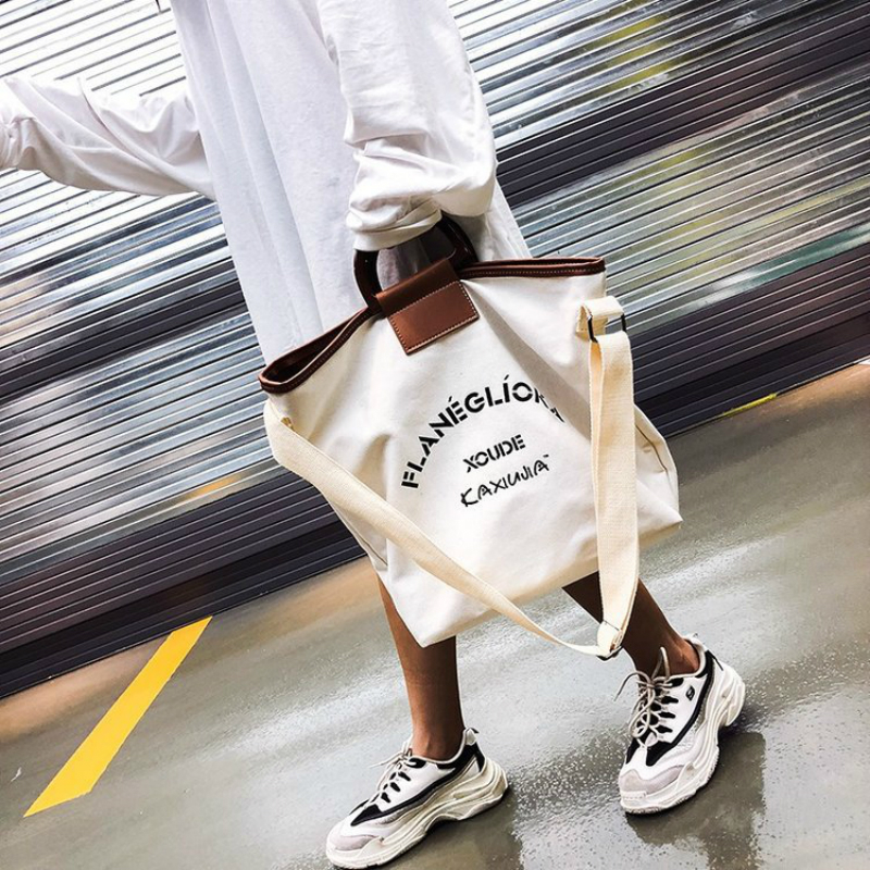 Korean Fashion Women's Women Ladies Big Bag Shopping Bag Art Canvas Single Piece Handbag Student Wild Large Capacity Beach