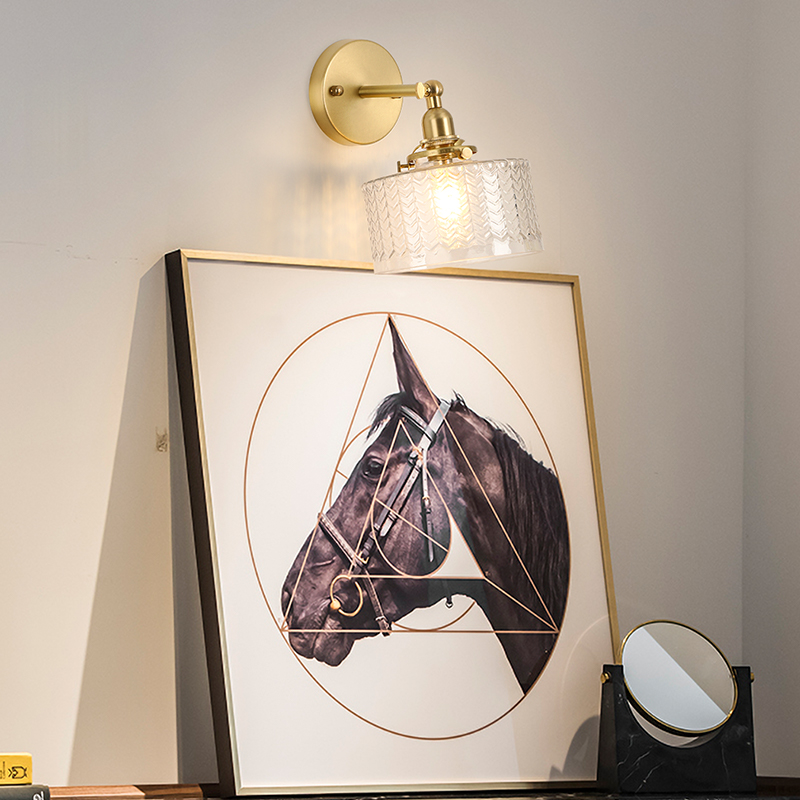 Have An Inquiring Mind El Brass Wall Lamp With Ripples Glass Shape Rotation Angle 270 Degree Up And Down For Bedroom Livingroom Indoor Lighting Back To Search Resultshome