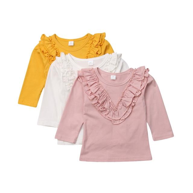 חדש Arrivel קפלי תינוק בנות כותנה ארוך שרוול חולצה 0-5 שנה סתיו ילדי בגדי חולצה חולצות