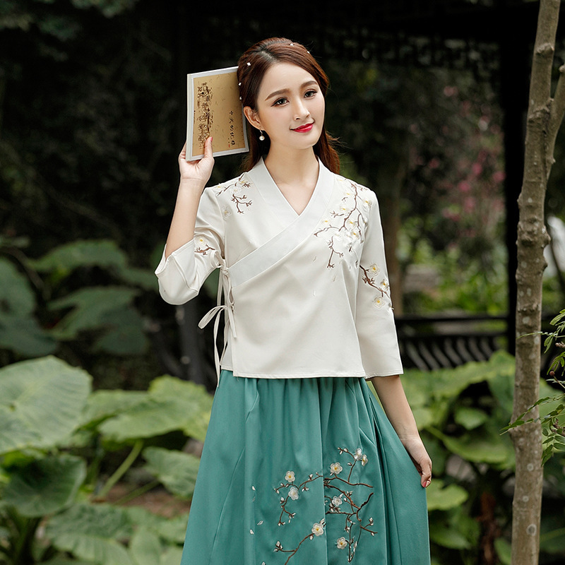 Hanfu Xia Pao Shirt Antique Fashion Embroidery Literature Restore Tea Ceremony Chinese Style Clothes Qipao Folk Women Tops Blue