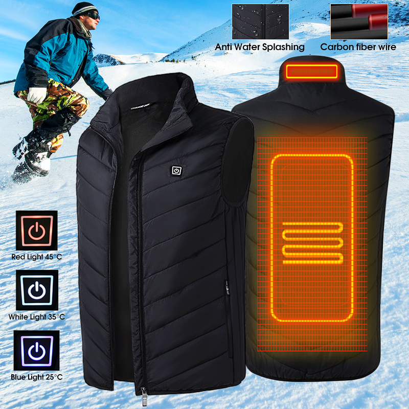 Mens Heated USB Sleeveless Jacket Vest Full Zipper Outdoor Heated Coats Temperature Control Safety Clothing mens winter heated usb charge hooded work jacket coats vest adjustable temperature control safety clothing