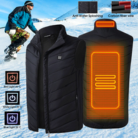 Mens Heated USB Sleeveless Jacket Vest Full Zipper Outdoor Heated Coats Temperature Control Safety Clothing