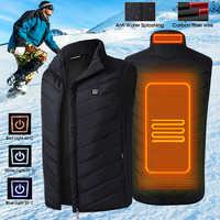 メンズ加熱された Usb ノースリーブジャケットベストフルジッパー屋外温水コート温度制御安全服