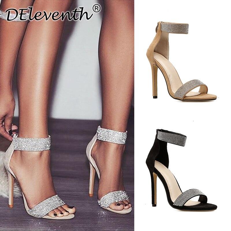 DEleventh Peep Toe Gladiator Footwear Ladies Pumps Crystal Stiletto Excessive Heels Zipper Horny Nightclub Celebration Gown Girl Footwear Apricot Excessive Heels, Low cost Excessive Heels, DEleventh Peep Toe Gladiator...
