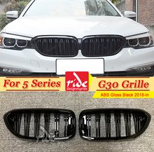 G30 Front Grille ABS Gloss Black For 5-Series M5 2-Slats M-Style 520i 530i 535i 540i 545i Kidney 2018-in