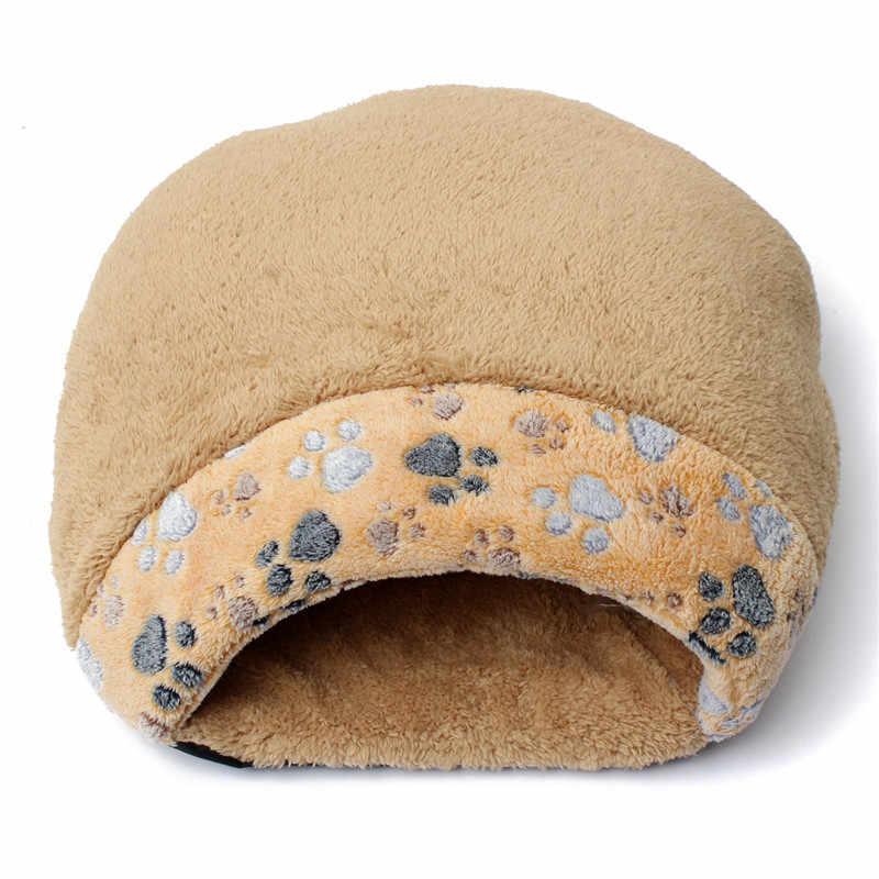 Мягкий Зимний милый теплый Кот кроватка для небольшой собаки домашняя зимняя теплая кровать для кота-любимца маленький кот спальный мешок щенок Лежанка-домик