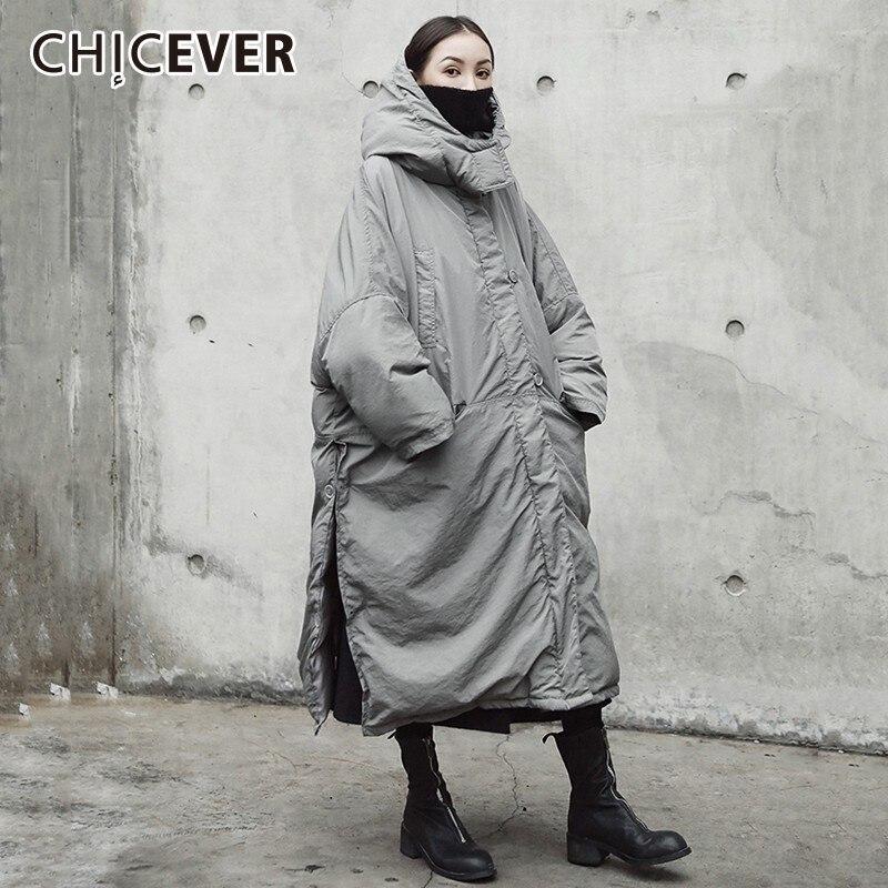 Kadın Giyim'ten Parkalar'de CHICEVER kadın Kış Ceket Kadın Ceket Kapşonlu Uzun Kollu Etek Bölünmüş Gri Kadın Moda günlük kıyafetler Yeni'da  Grup 1