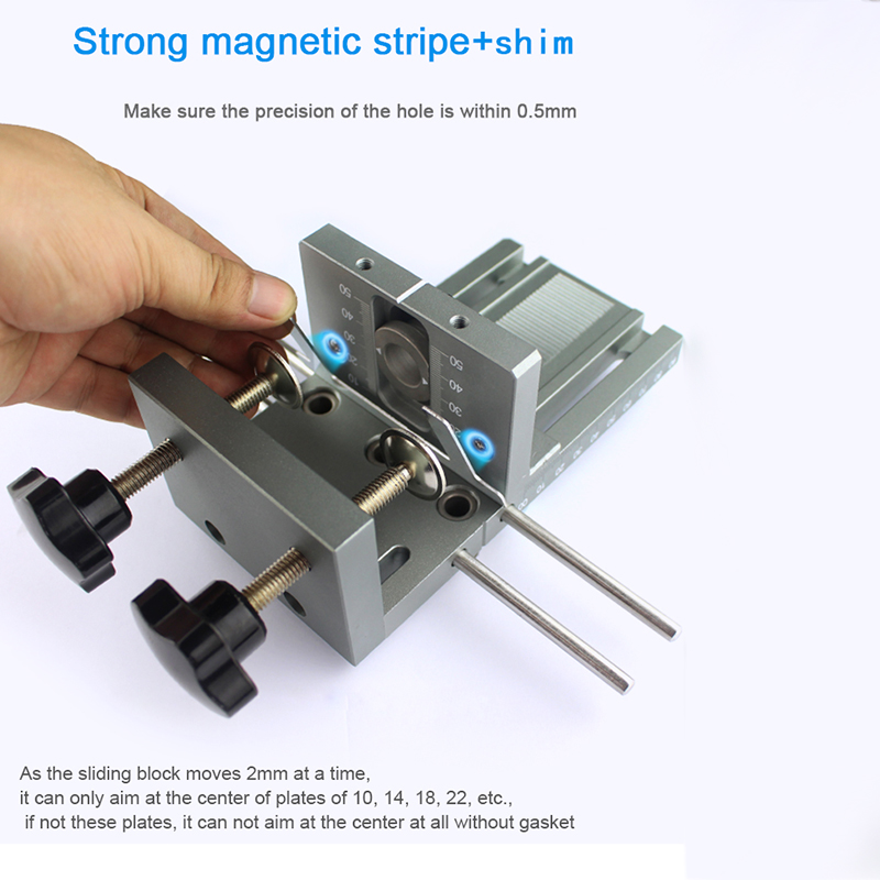 BIFI-Dowelling Jig for Furniture Fast Connecting Cam Fitting 3 In 1 Woodworking Drill Guide Kit Locator 1 set