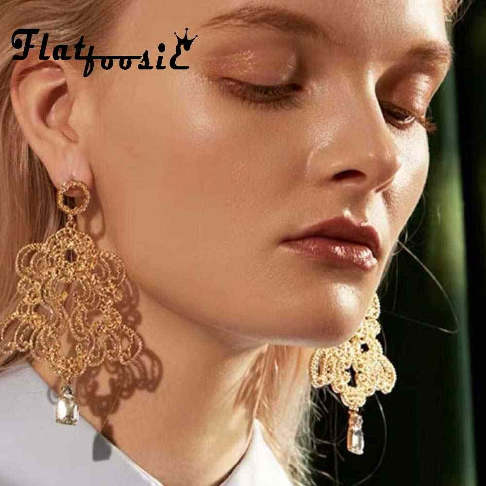 Flatfoosie ZA Luxury Gold Color Dangle Earrings For Women Shiny Metal Geometric Large Drop Earring Wedding Fashion Maxi Jewelry