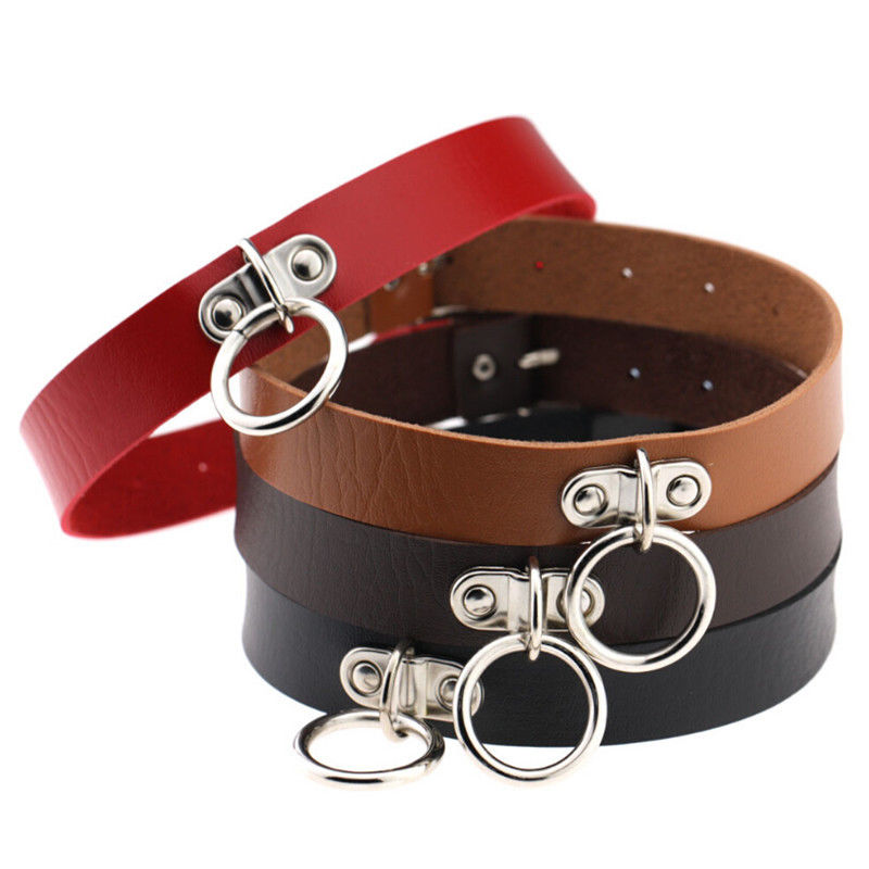 Fashion Gothic Punk Style Alloy Double Ring Pendant Snap Fastener PU Leather Choker Collar Chocker