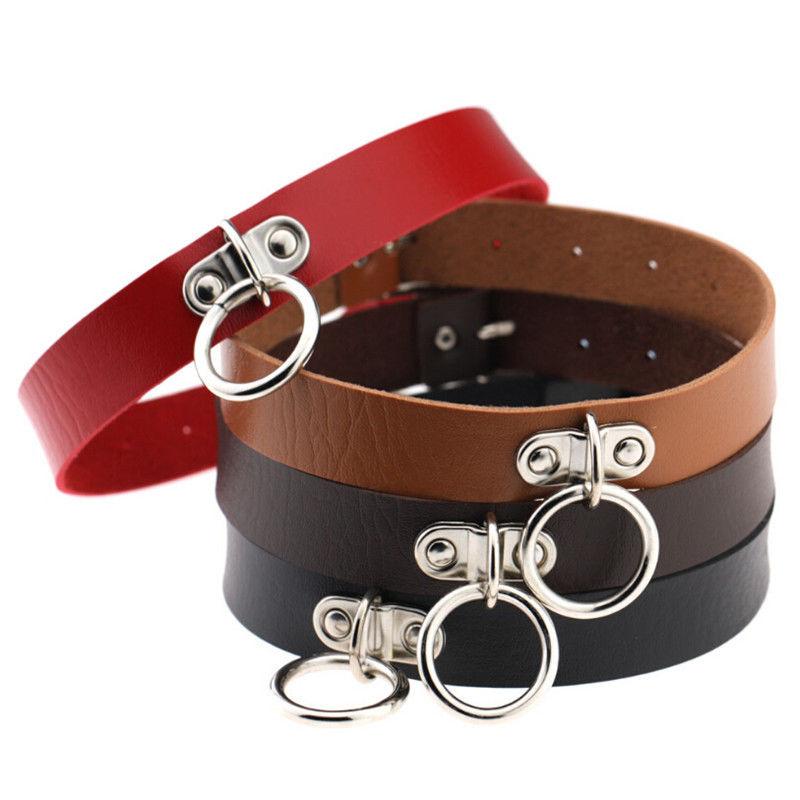 Fashion Gothic Punk Style Alloy Double Ring Pendant Snap Fastener PU Leather Choker Collar Chocker