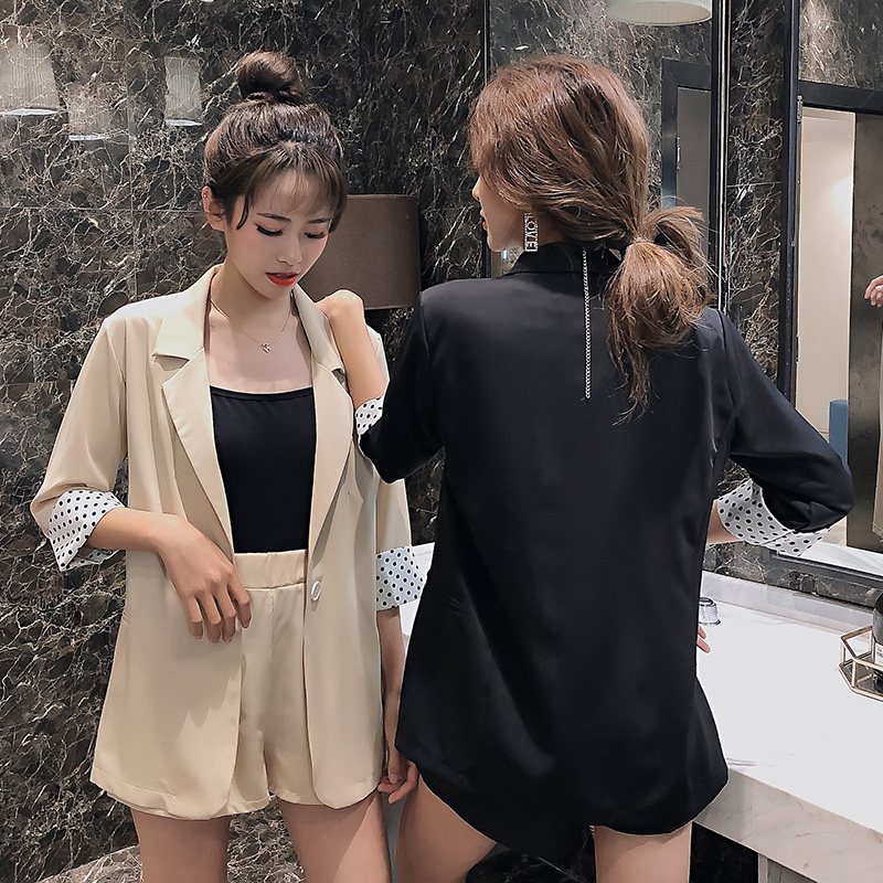 2019 Korean Style Curling Wave Long Sleeve Chiffon Suit Jacket Female High Waist Casual Shorts Two-Piece