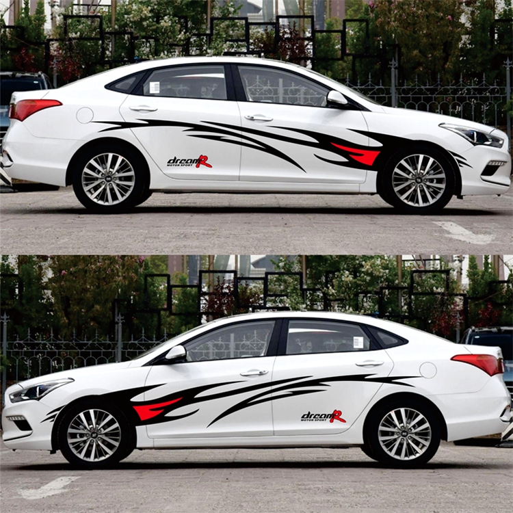Image 2 - Car styling Racing Flame Graphics Car Stickers Auto Body Decor Cover Decals for FORD FOCUS 2 VW KIA RIO MAZDA 3 SKODA CRUZE-in Car Stickers from Automobiles & Motorcycles
