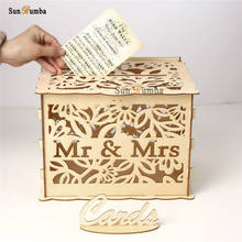 Wooden Wedding Card Box Holder DIY Vintage Decor Well Money Envelope Keepsake Boxes Gift Party Decoration