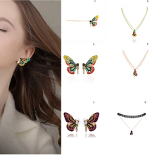 Crystal Women Necklace Earrings Personality Beautiful Butterfly Earring Necklace Hairbands Party Hairpin Elegant Sets Vintage hollowed filigree butterfly necklace and earrings