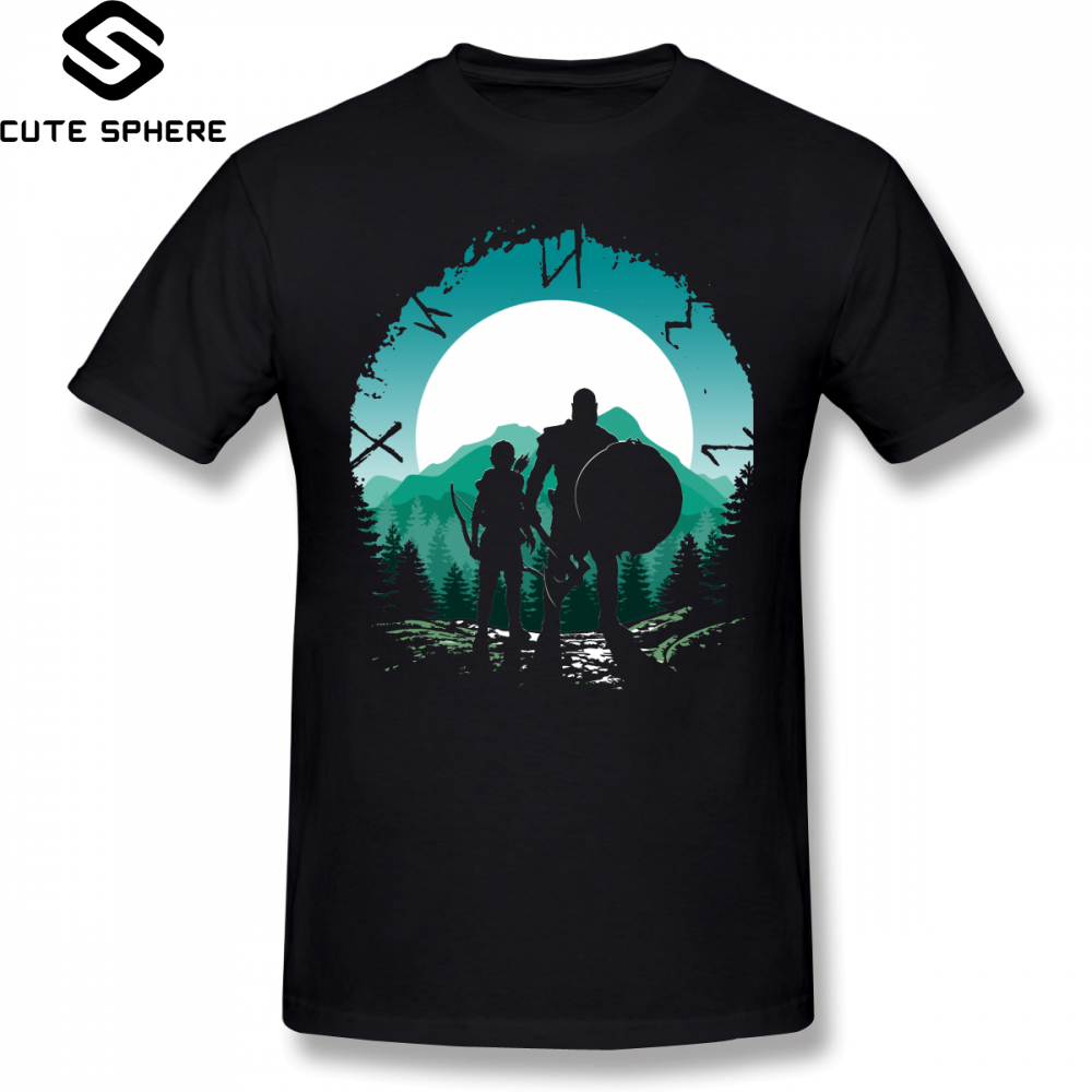 God Of War   T     Shirt   Kratos And Son   T  -  Shirt   Man Graphic Tee   Shirt   Awesome Classic Cotton Short Sleeve Plus size Tshirt