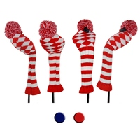 4pcs/set Knitted Wool Knit Golf Clubs Set Pom Sock Covers Dirver/Fairway Golf Club Head Cover Wood Headcovers Golf Accessories