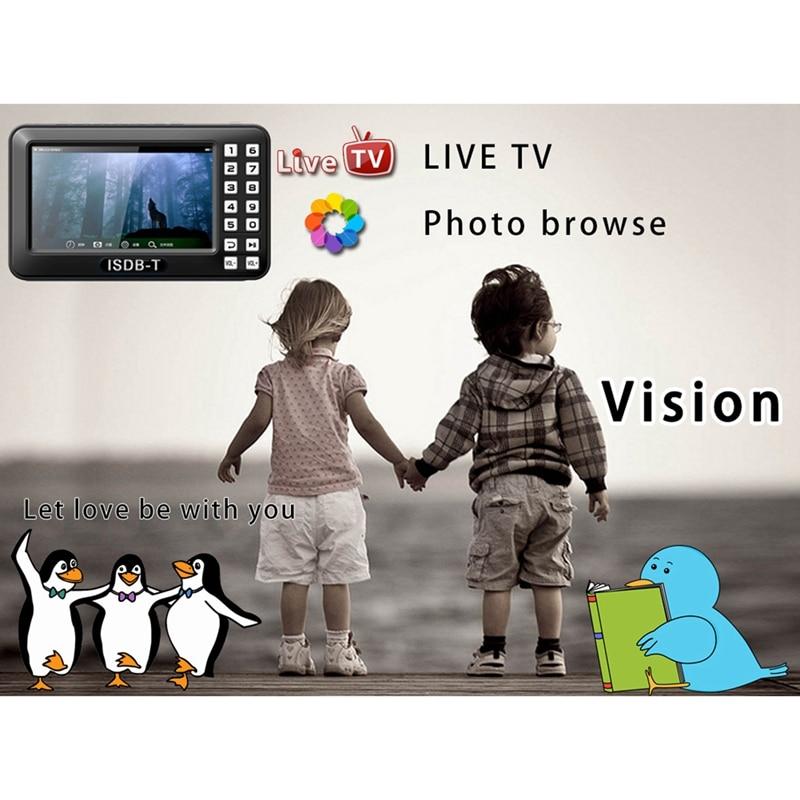 Portable 4,3 inch Lcd Tv isdb-t Full Seg Fm Tv recargable para películas en vivo música Fm en cualquier momento enchufe de la UE