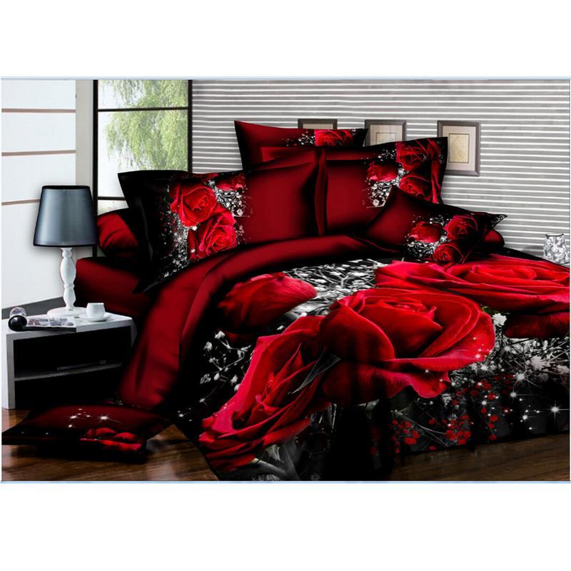 200x230cm Bedding Set 3D flowers Roses lilacs Pastoral style 4pcs Duvet Cover Sets Soft Polyester Bed Linen Flat Bed Sheet