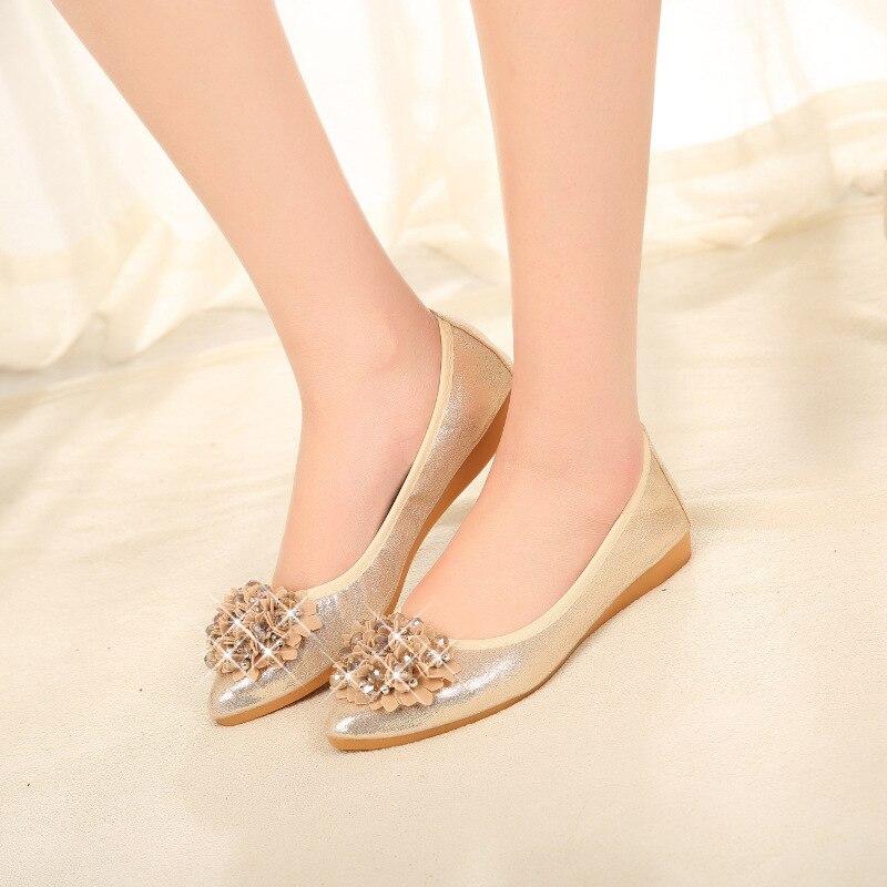 Femmes Printemps silver Slip Zapatillas 45 Mocassins Toe Floral Point La golden Femme Taille Black 33 Casual Cristaux 2019 Appartements Plus Mujer Chaussures Sur wBvIqn